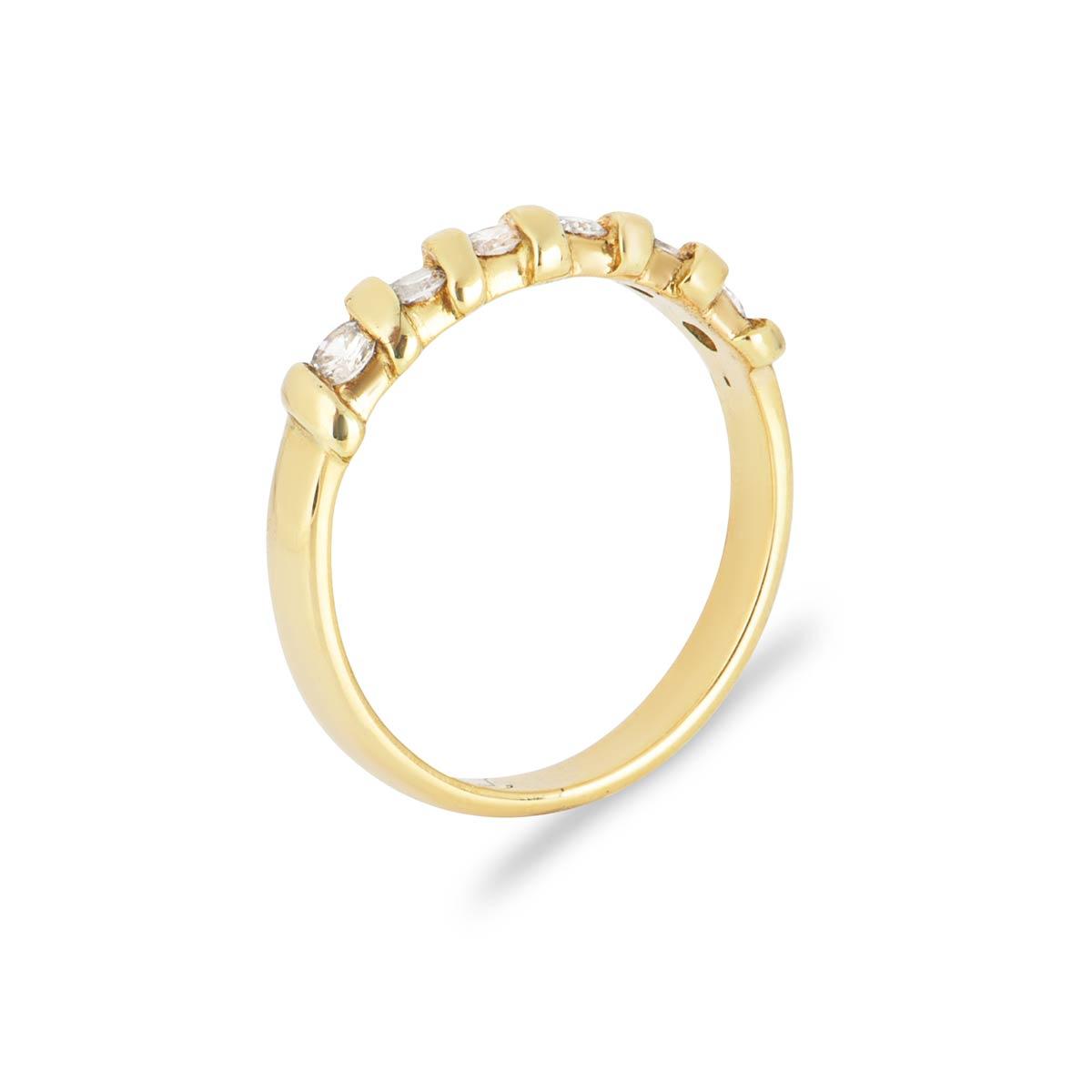 Yellow Gold Round Brilliant Cut Diamond Half Eternity Ring